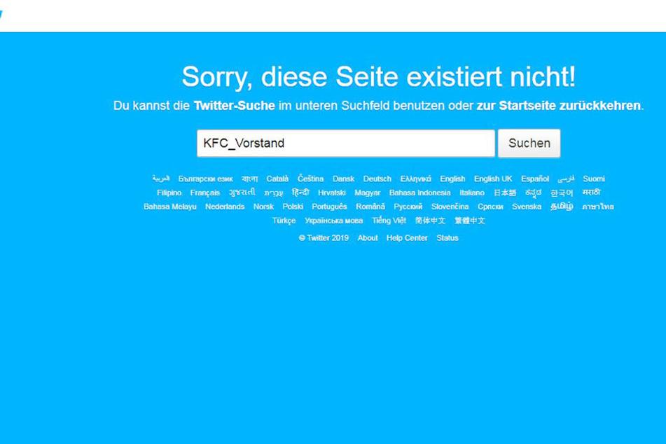 Die Twitter-Vorstandsseite des KFC Uerdingen wurde gelöscht.