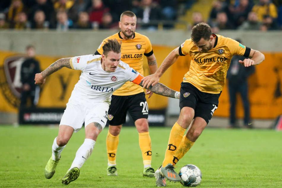 Das Spiel gegen Wehen Wiesbaden gewann Dynamo Dresden knapp 1:0