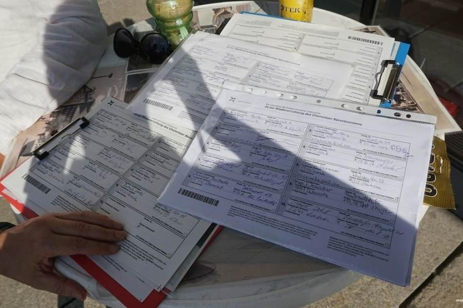 """Über drei Monate sammelten Yvonne Weber, Lars Fassmann und Sandro Schmalfuß von der """"Initiative zur Wiedererrichtung des Chemnitzer Bärenbrunnens"""" Unterschriften online und mit Unterschriftenbögen."""