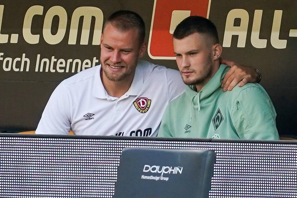Ihr Platz war auf der Bank. Dynamo-Kapitän Sebastian Mai (l.) saß dort 90 Minuten, Bruder Lars Lukas die ersten 45 Minuten.
