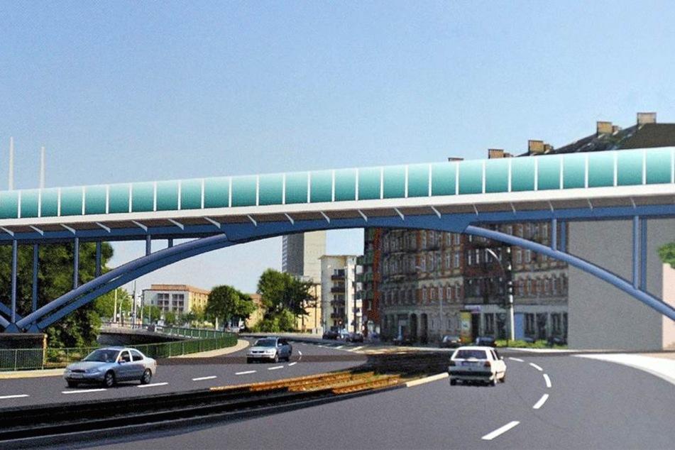 So modern wollte die Bahn die neue Brücke über die Chemnitz bauen. Doch das  alte Viadukt bleibt nach dem Willen der Landesdirektion stehen.