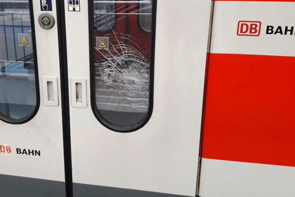 Von außen ging eine Tür der S-Bahn zu Bruch.
