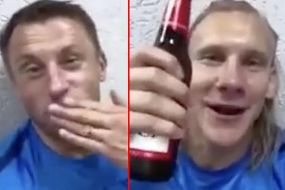 Vida hält ein Bier des offiziellen Sponsors in der Hand. Neben ihm sitzt der ehemalige HSV- und Bayern-Spieler Olic und singt fröhlich mit.
