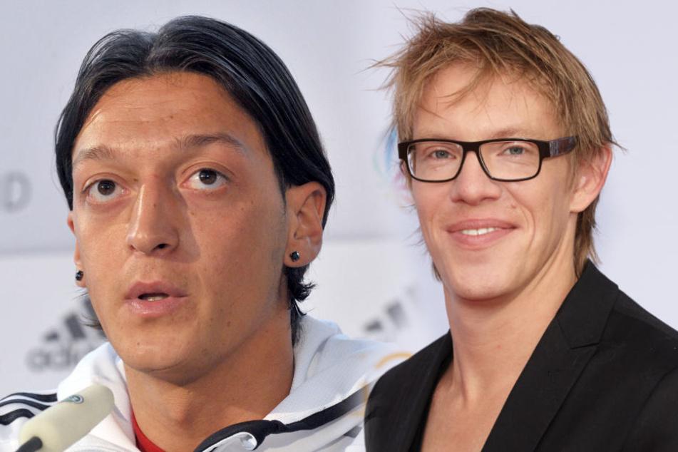 Recep Tayyip Erdoğan lobte Mesut Özil (links). Das nahm Simon Gosejohann zum Anlass, um einen Witz zu reißen.
