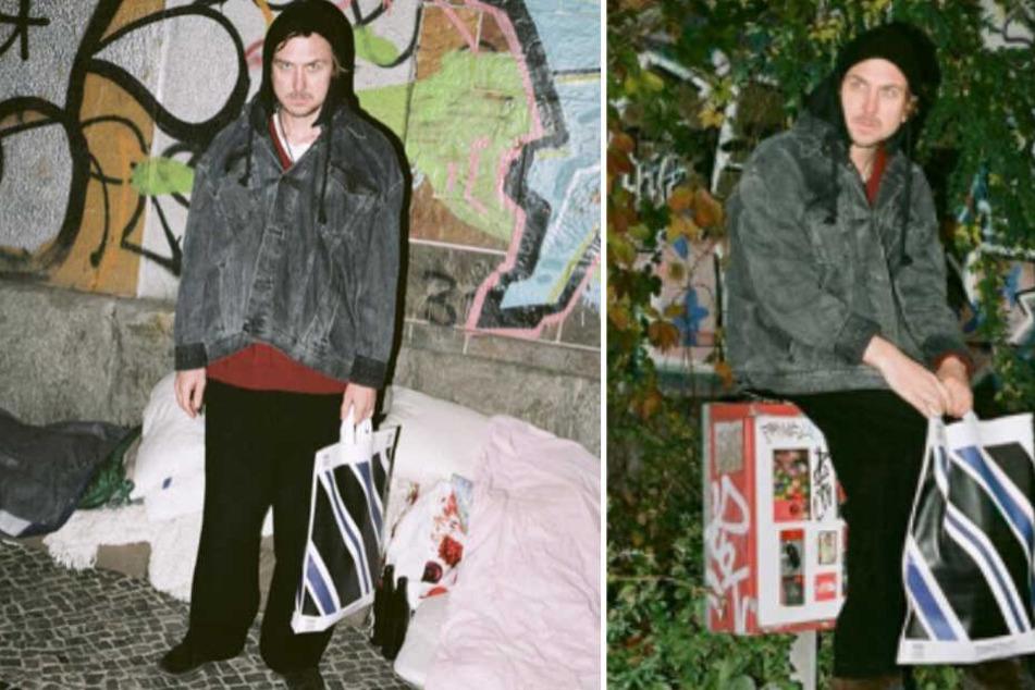 Lars Eidinger posiert mit Designertüte im Aldi-Look vor Obdachlosen-Lager und das Netz wütet