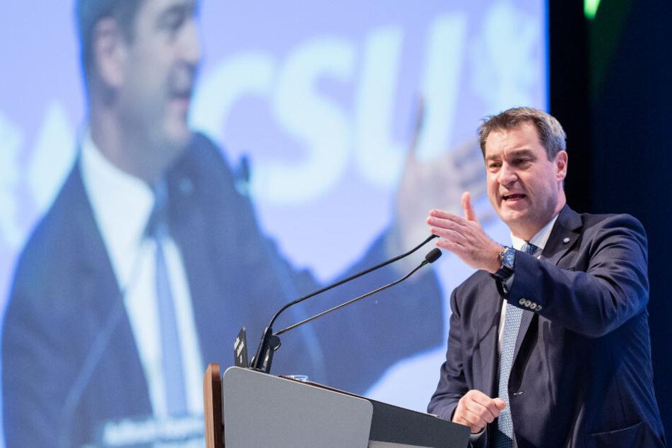 Söder teilt gegen die anderen Parteien aus. Vor allem auf die AfD und ihrer Rechtspolitik hatte er es abgesehen.