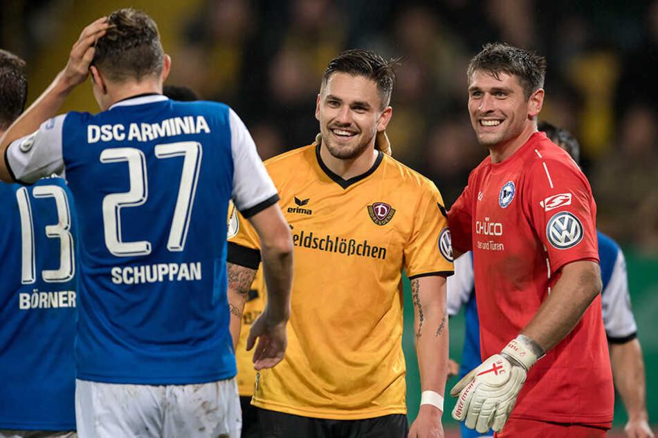 Gute Erinnerungen an Dresden: In der 2. Runde des DFB-Pokals gewann Arminia Bielefeld mit 1:0 bei Pascal Testroet (m.) und Dynamo.