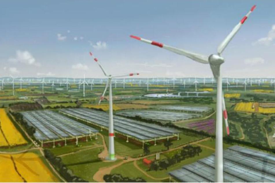Eine mögliche Vision für das Rheinische Revier: Solaranlagen und Windräder.