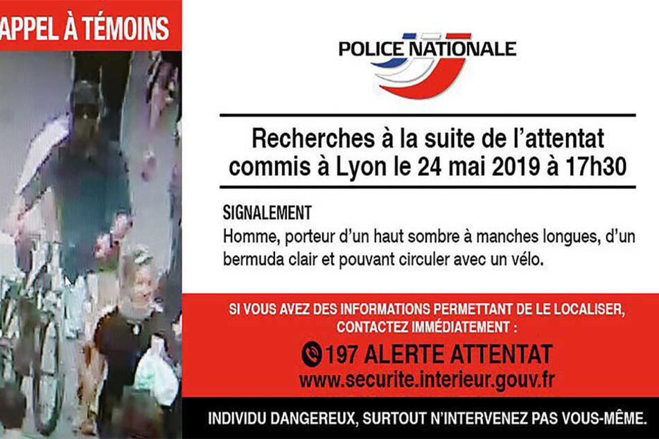 Die Polizei fahndet mit diesem Foto auf Twitter nach einem Verdächtigen im Zusammenhang mit einer Explosion in Lyon.