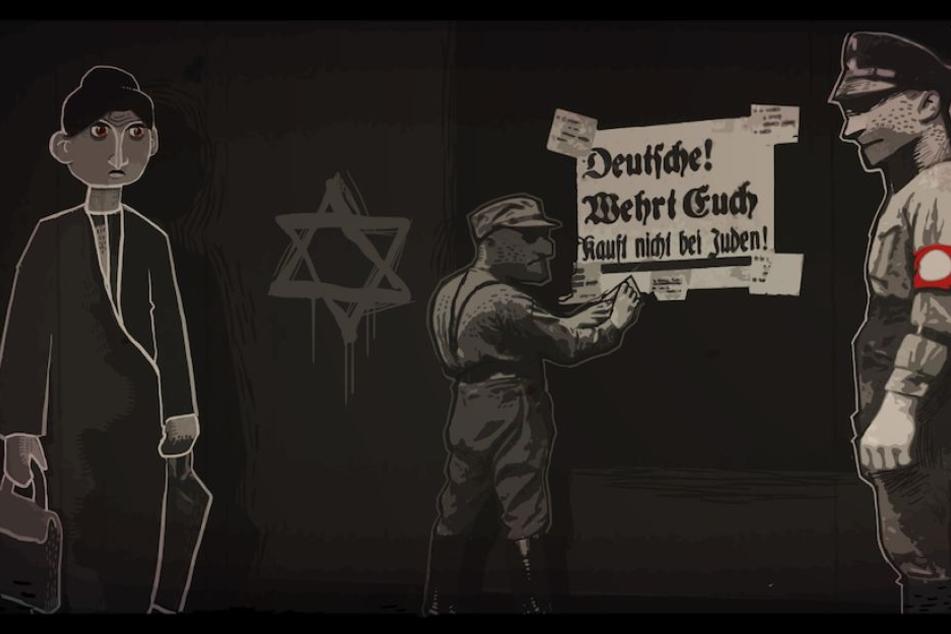 """In dieser Szene aus dem Spiel """"Through the Darkest of Times"""" wird der Boykott von jüdischen Geschäftsleuten dargestellt."""