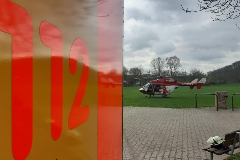 Auch ein Rettungshelikopter war im Einsatz.