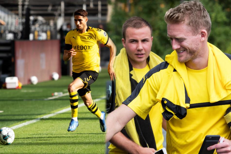 Achraf Hakimi (l.), Mario Götze (M.) und André Schürrle haben den BVB allesamt verlassen.