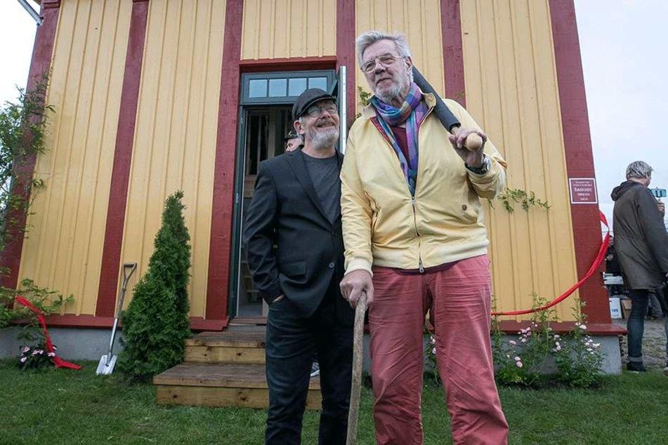 """Borge-Darsteller Jes Holtso (61, l.) hier mit """"Benny"""" Morten Grunwald (83), wird in Zittau erwartet."""