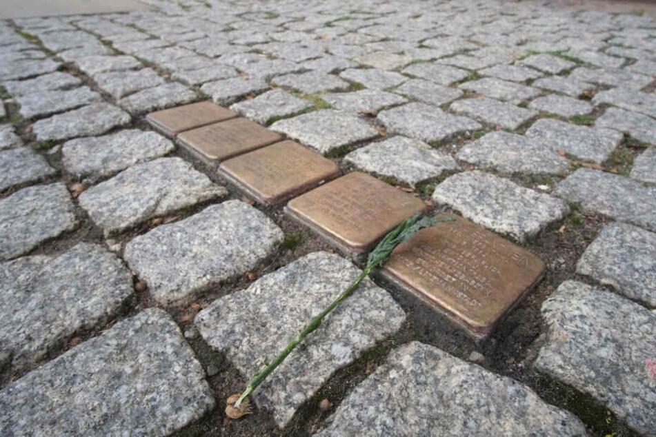 Stolpersteine in Chemnitz mit brauner Farbe übergossen