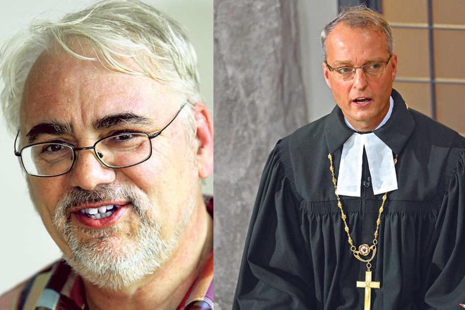 """Superintendent Dieter Bankmann (li.). Selbst der konservative Landesbischof Carsten Rentzing (49, re.) rief bei Ullrich an und fragte: """"Was kann ich für Sie tun?"""""""