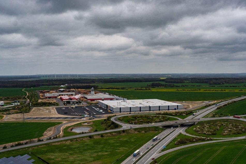 Im Gewerbegebiet Kodersdorf nahe der A4 bei Görlitz entsteht der Neubau der Elbe Flugzeugwerke.