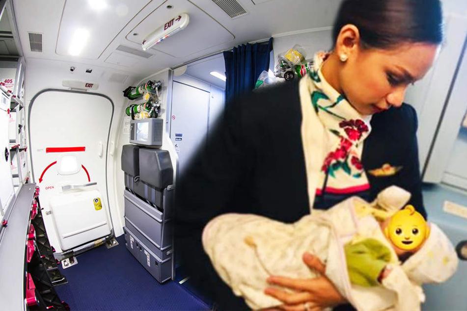 Baby droht zu verhungern: Flugbegleiterin wird mit Brüsten zur Heldin!