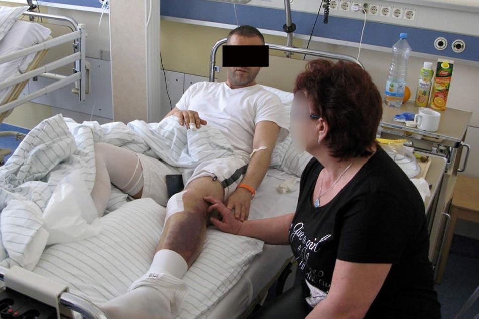 Hatem K. mit seiner Frau im Krankenhaus.