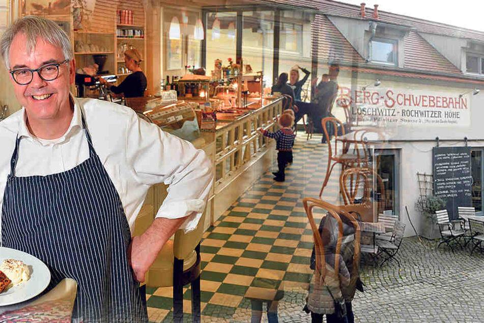 Eckhard Kleinert (56) mit seiner  Kreation aus Bratstollen, heißen Kirschen und Eis. Der Stollen wird in etwas Butter gebraten.