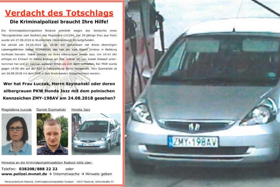 Mit diesem Fahndungsplakat bittet die Kripo Rostock um Hinweise auch zum Auto der Toten. (Bildmontage)