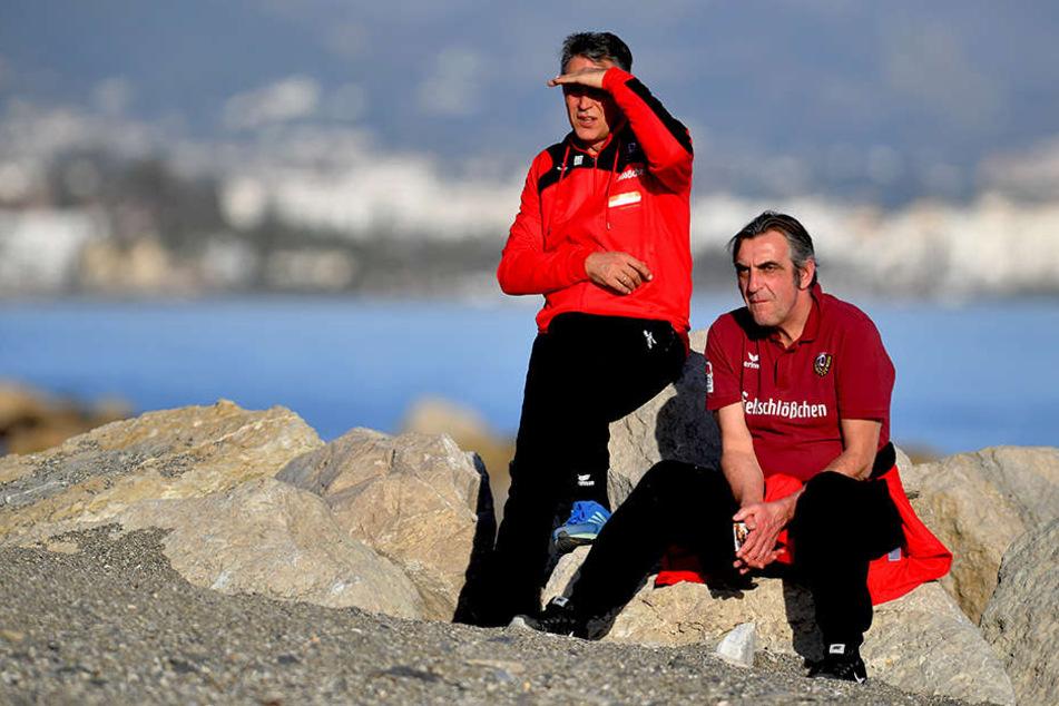 Trainer Uwe Neuhaus (links) und Geschäftsführer Sport Ralf Minge (re.).