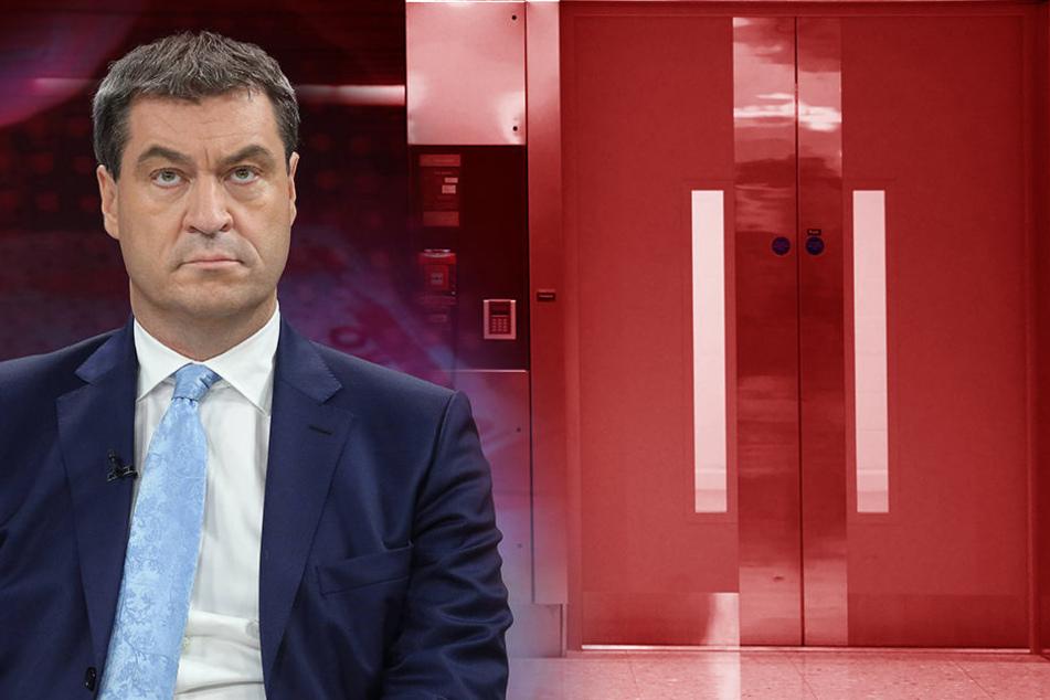 Bayerns Finanzminister Markus Söder (49, CSU) steckte fest!