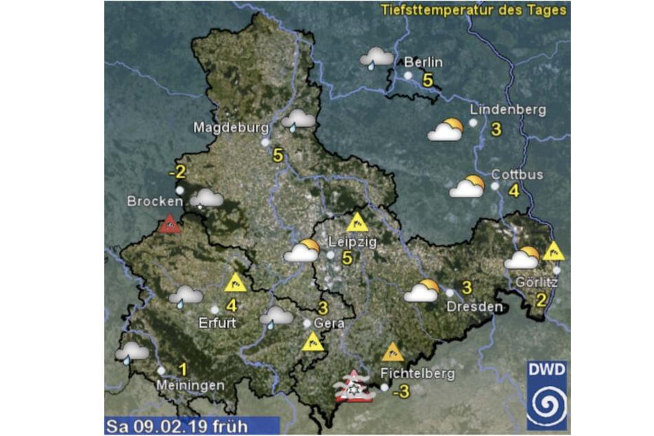 Mit diesen Temperaturen startet Sachsen ins Wochenende. Quelle: Deutscher Wetterdienst