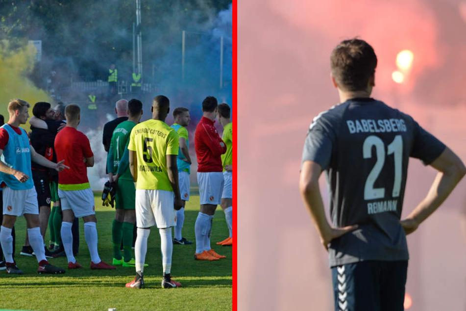 Während des Spiels und bei der anschließenden Siegerehrung zündeten Babelsberg-Anhänger Pyrotechnik und Rauchbomben. (Bildmontage)