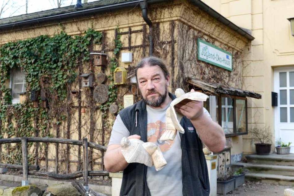 Die Diebe schlachteten sogar die Spendenkröte: Uwe Prokoph (53), Chef des  Jugend-Öko-Haus im Großen Garten, ist entsetzt und traurig
