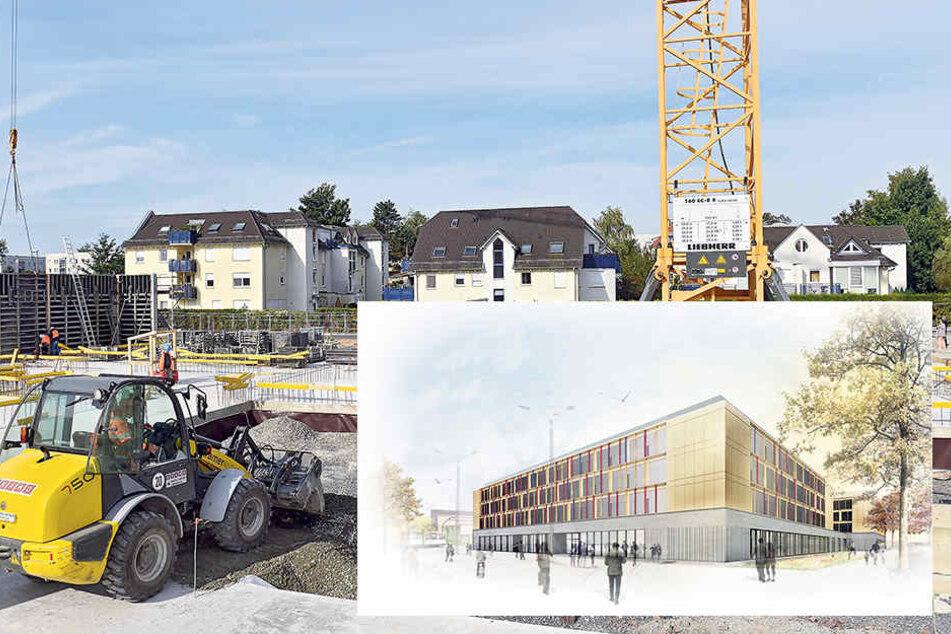 So soll der Schulkomplex einmal aussehen. Links hinten das alte Volksbad. Dort herum wird eine neue Straßenbahn-Schleife gelegt.