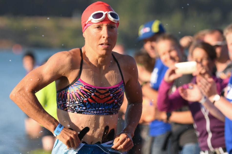Anne Haug bei der Ironman Europameisterschaft in Hessen 2018.