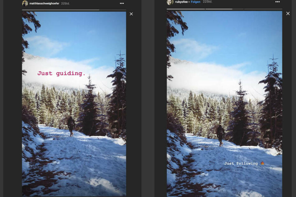 Sowohl Matthias Schweighöfer als auch Ruby O. Fee (22) posteten diesen winterlichen Schnappschuss.