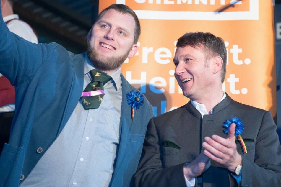 """Will mal wieder in Connewitz aufmarschieren: """"AdP""""-Chef André Poggenburg (rechts) zusammen mit seinem Vorstandsmitglied Benjamin Joseph Przybylla."""