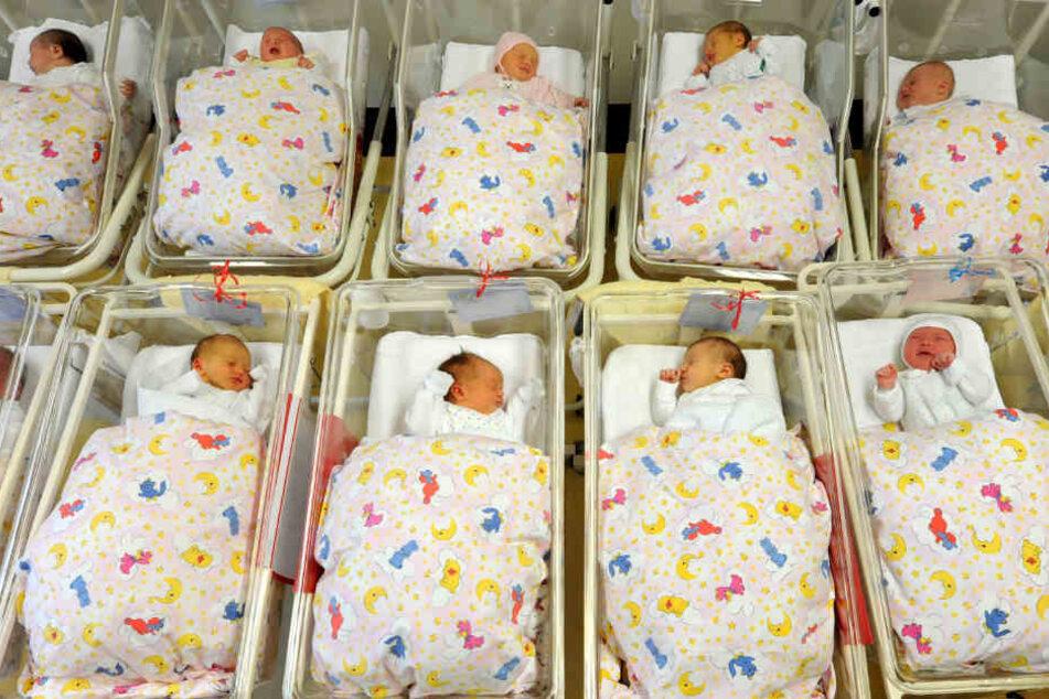 Babys in ihren Bettchen auf einer Neugeborenen-Station.