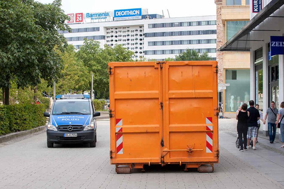 Solche, mit Sand gefüllte Container kamen schon beim Stadtfest zum Einsatz, sie sollen nun auch den Weihnachtsmarkt absichern.
