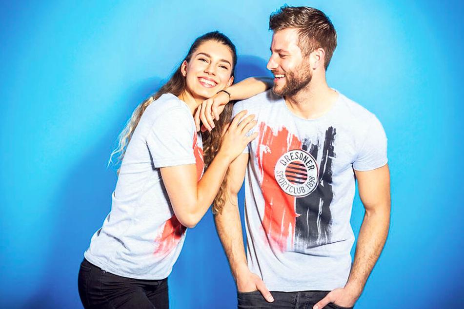 """Nikola & Philipp zeigen das neue DSC-Fanshirt. Sieben verschiedene Varianten hatte das Mode-Label """"Dirts"""" angeboten. Die Entscheidung war für den DSC nicht einfach."""