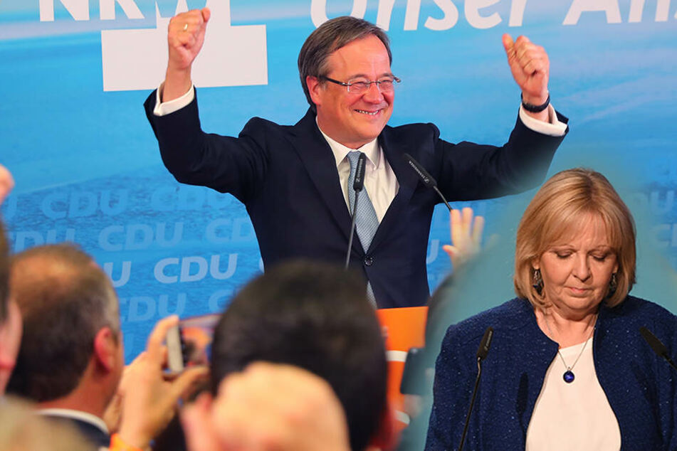 Armin Laschet (CDU) freut sich über seinen Sieg. Hannelore Kraft trat sofort als Chefin der SPD-NRW zurück.