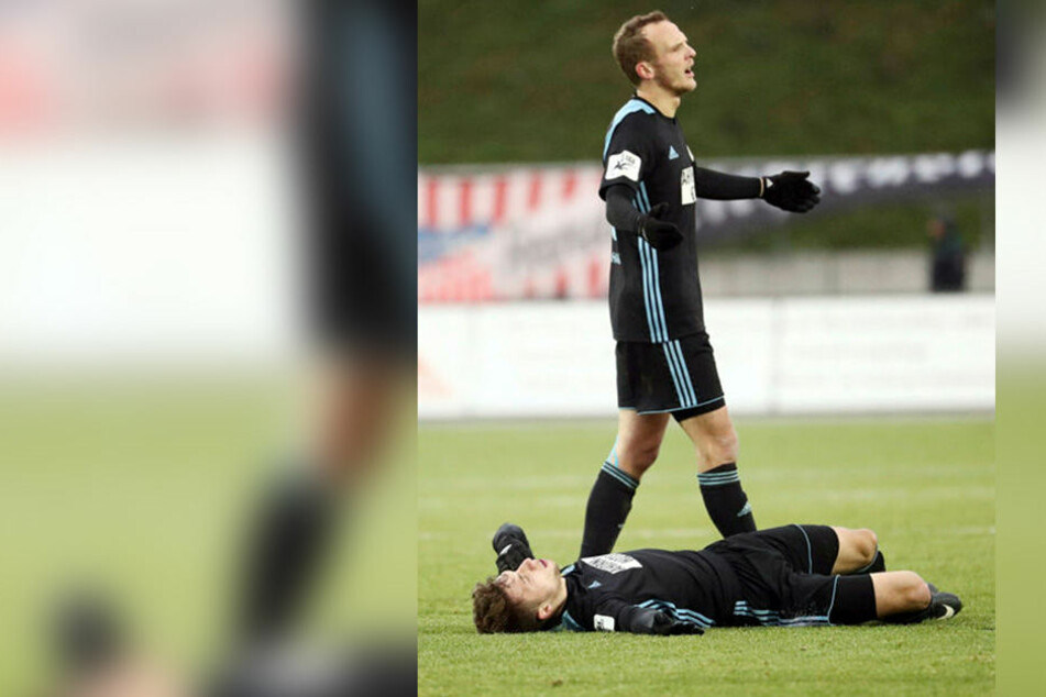 Julius Reinhardt verstand in Zwickau die Welt nicht mehr. Wie konnte der CFC das Derby noch verlieren? Am Boden krümmt sich Tom Baumgart.