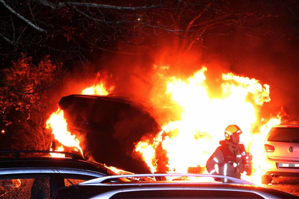 Am frühen Sonntagmorgen zerstörten Flammen einen Transporter in der Ortolfstraße im Treptower Ortsteil Altglienicke.