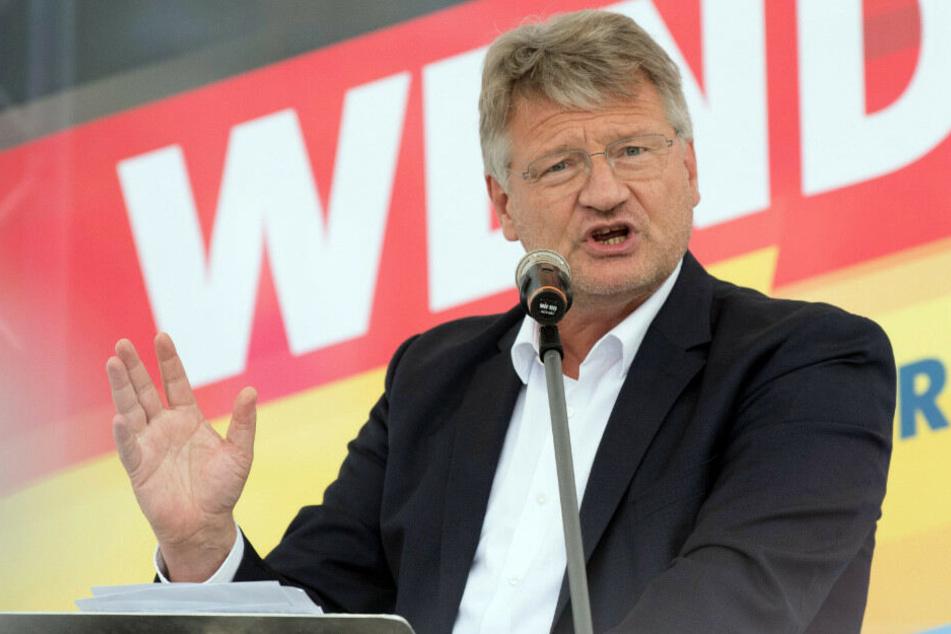 Jörg Meuthen spricht beim Wahlkampfauftakt der AfD in Cottbus.