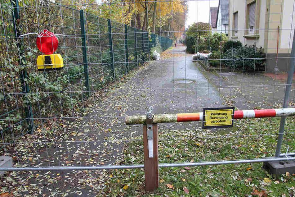 Der Zaun ist zwei Meter hoch, rechts und links ist kein Durchkommen.