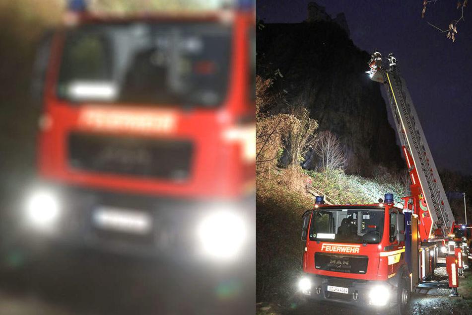 Für die Kameraden der Feuerwehr ging es an der Begerburg hoch hinaus. Sie simulierten eine Höhenrettung.