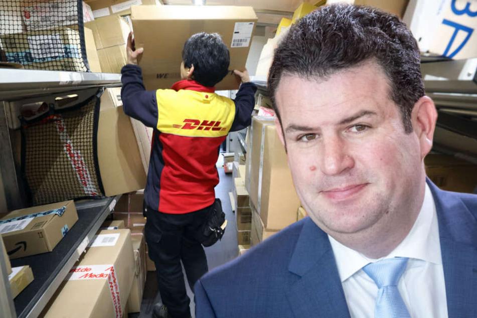 Bundesarbeitsminister Hubertus Heil will gegen die Missstände in der Paketbranche vorgehen (Bildmontage).