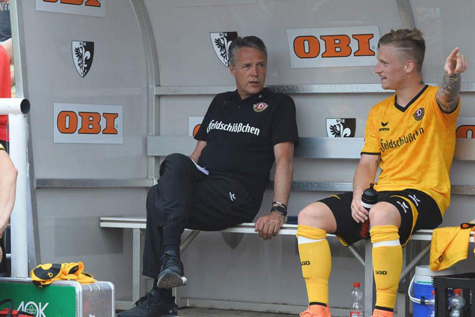 Dynamo-Coach Uwe Neuhaus kann am Sonntag auf Marvin Stefaniak (l.) zurückgreifen.