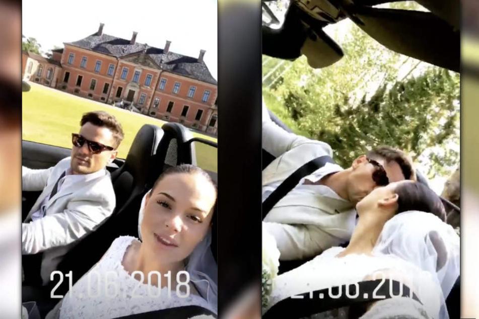 Rocco und seine Nathalie filmen sich kurz nach ihrer Vermählung im Auto.
