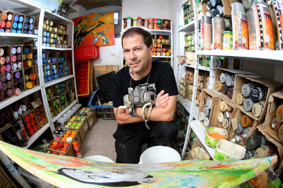Er sprayt Meißen einen Porzellan-Baum: Graffiti-Künstler Frank Schäfer (47).