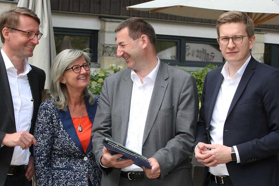 Ihr Direktmandat ist nicht mehr sicher (v.l.): die CDU-Kandidaten Roland Wöller (48), Andrea Dombois (60), Jens Michel (52) und Oliver Wehner (35).