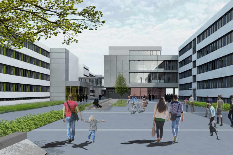 Entwurfsbild für den Campus am Schulzentrum Grünau.