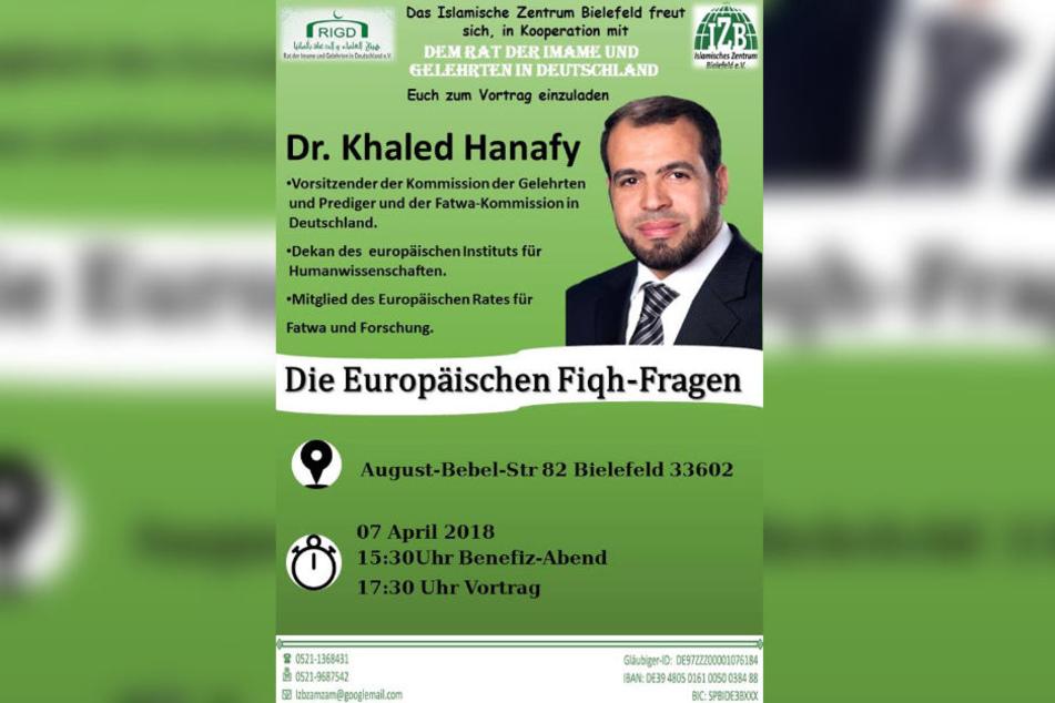 Mit diesem Plakat wirbt das IZB für den Vortrag des Islamisten.