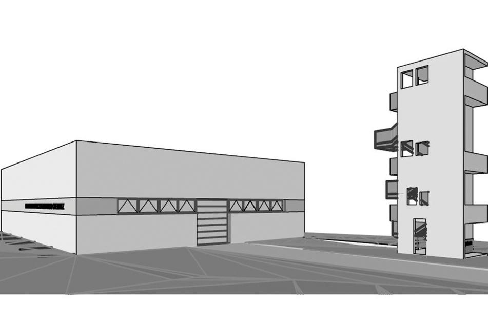 Entwurf des Feuerwehrtechnischen Zentrums von 2009.